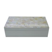 CCFW-WPSBL Boîte à bijoux chinoise à base d'eau douce avec peinture blanche Large