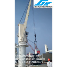 Grua de carga pesada hidráulica pesada no convés do navio