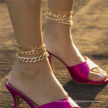 European and American Gold and Silver Diamonds Punk Hip Hop Ins Cuban Chain Thick Chain Pig Nose Buckle Chain Fashion Jewellery Anklet Bracelet Set for Women