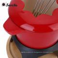 Set de fondue sin esmalte de hierro fundido esmaltado - rojo, rojo oscuro