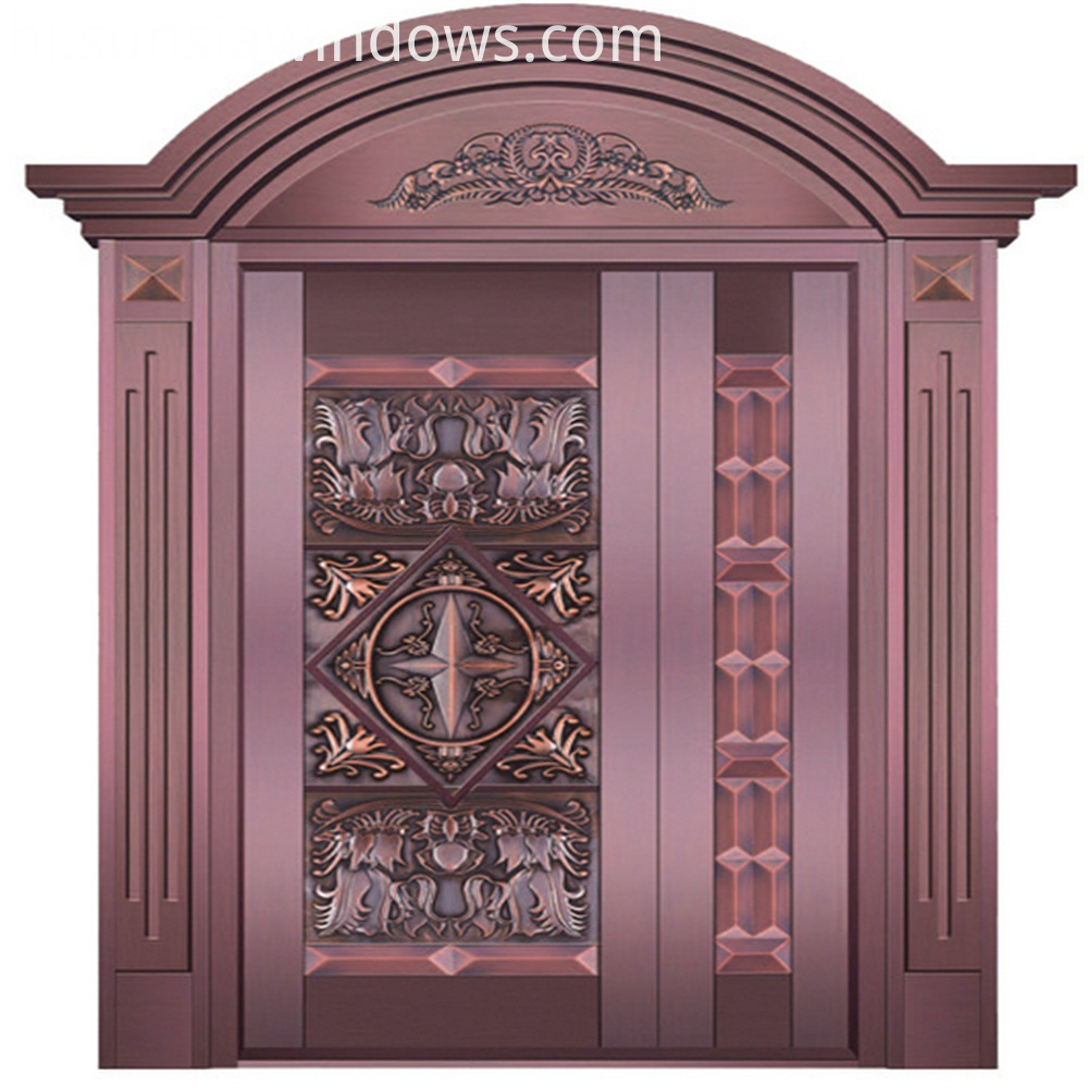 red copper entry door