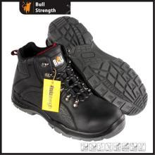 Cor preta couro genuíno segurança bota com sola nova (SN5501)