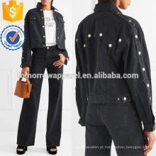 Recortada Denim Jacket Fabricação Atacado Moda Feminina Vestuário (TA3035C)