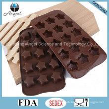 Heißer Verkauf 15-Cavity Stern-Silikon-Eis-Würfel-Behälter für Pudding Si28