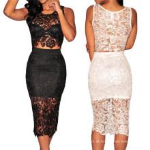 De alta qualidade duas peças Sexy Ladies Lace Prom Dress (50137)
