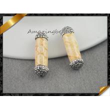 Perlas de fósiles de coral natural, perlas de Druzy de piedras preciosas de tubo redondo para la fabricación de joyas de collar (EF0109)