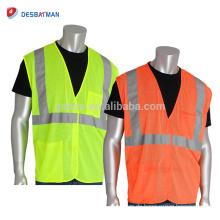 Hohe Sichtbarkeit Grün / Orange Mesh Heavy Duty Sicherheit Weste Class2 Reflektierende Zwei Pocket Wert Weste Mit Klettverschluss