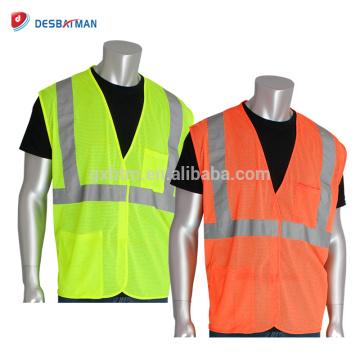 Chaleco de seguridad de alta visibilidad malla verde / naranja Chaleco de seguridad de clase 2 reflexivo Chaleco de doble bolsillo con cierre de gancho y lazo