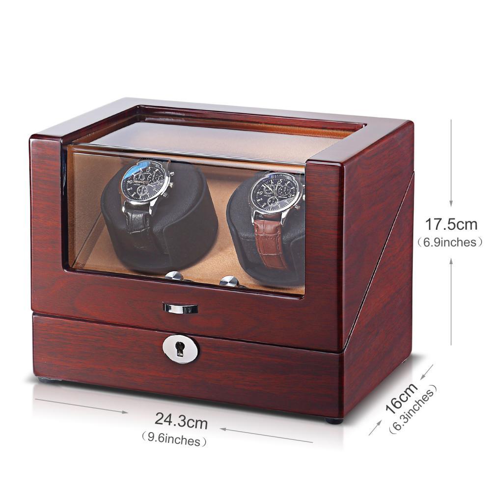 Ww Walnut Double Rotors Watch Winder Size