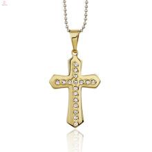 Красивый Золотой Дизайн Мужчин Из Нержавеющей Стали Кристалл Крест Подвески