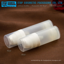 ZB-QE-Serie 10ml 15ml Mini PP Kunststoff Runde transluzente airless Kosmetik Lotion Spenderflasche