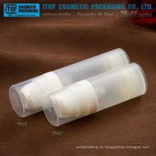 Mini de 15ml de 10ml de ZB-QE série plástico PP redondo frasco da bomba loção translúcida cosméticos sem ar