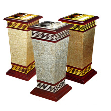 Lixeira de madeira e metal para o lobby (YW0062)