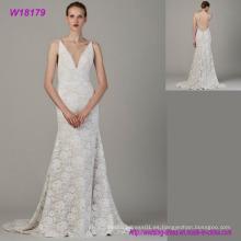 Vestido de novia al por mayor del cordón de marfil Vestidos de boda del imperio Vestido clásico de la novia