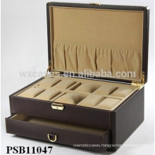high quality leather watch storage box wholesale for 10 watches