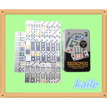 Doble 12 dominó blanco en caja de hojalata