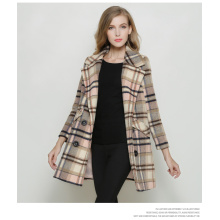 Houndstooth Europe Fashion Style Long Women Coat for Winter