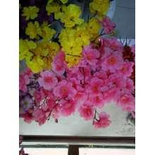 Pequeno, pêssego, sentar, decoração, mão, amarrado, buquet, seda, flor
