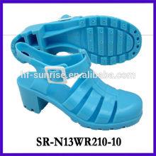 SR-N13WR210-10 (2) las sandalias del pvc de las señoras calzan las sandalias al por mayor de la jalea del alto talón
