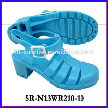 SR-N13WR210-10 (2)ladies pvc sandals plastic shoes sandals high heel jelly sandals wholesale jelly sandals