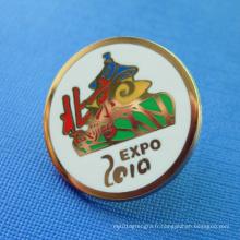 Badge badge émaillé en élastique doublé plaqué or (GZHY-SE-023)