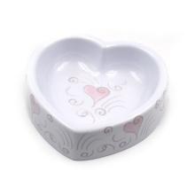 Tigela de água e alimentos para animais de estimação em forma de coração de melamina