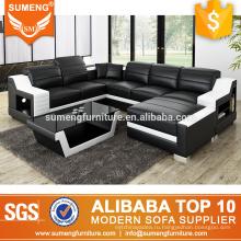 Черный и белый кожаный диван набор гостиная мебель тоом с фаэтона