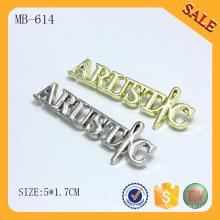 MB614 Geldbörsenbeutel Brieflogo kundenspezifisches Metall Namensschild