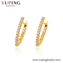 95886 Xuping jewelry 24K gold Plated elegant latest design huggie earrings