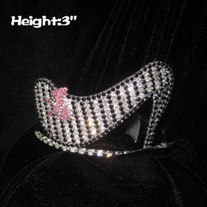 Crystal High Heel Pageant Crowns With Pink bows