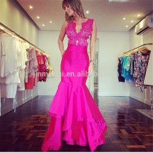 Sexy Rose Mermaid Evening Dresses Long 2016 Robe De Soiree V-neck Appliqued Satin Prom Dresses Vestido Longo De Festa