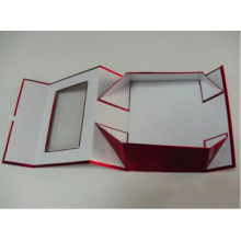 Boîte à cadeau pliable en métal métallique rouge avec fenêtre
