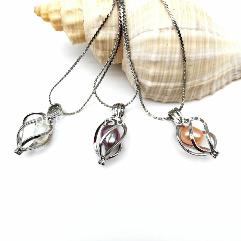 Twisted Style Cage Pendant Pearl Necklace