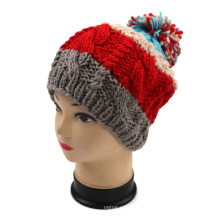 Hand Knitted Winter Warm Hat with Pineapple Design