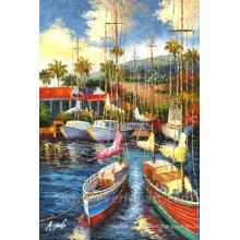 Pintura al óleo hecha a mano del velero en la lona para la decoración casera (EWL-053)