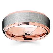 Tungsten Wedding Band Ring 8mm for Men Women Jewelry Comfort Fit 18K Rose Gold Plated Beveled Edge Brushed