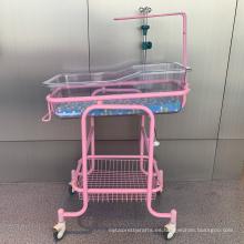 Cuna hospitalaria de acero transparente para bebés