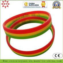 Пользовательские 3 слоя различных цветов силиконовый браслет