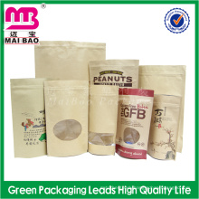 Resealable food packaging use tear notch kraft paper bag with zipper and window