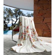 Cobertor de lã coral impresso com borda dobrada