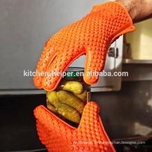 Kundenspezifische Design Küche Kochen bunte hitzebeständige Küche Silikon Handschuh / Silikon Grill Ofen BBQ Handschuh / Ofen Mitt