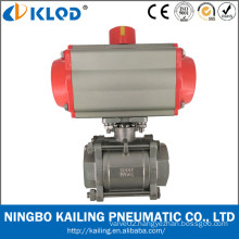3 pieces pneumatic actuator ball valve for water treatment Model Q611F-16P