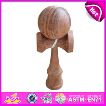 Inteligente divertido Kendama de madera para niños, juguete de madera Kendama para niños, juguete de Kendama de madera con 18.5 * 6 * 7cm W01A022