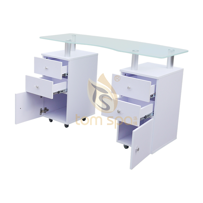 Manicure Table GLASS GLOW Salon Nail Table