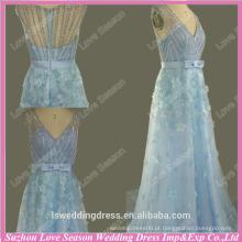 WL0068 Sheer back cap manga frisada flores royal pictures baile dresse azul vestido azul lindo beading elegante vestido de noite