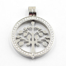 New Design Side Open Locket with Tree of Life Coin for Necklace Pendant