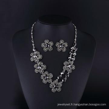 2016 Mode Hemitate tchèque strass Rose fleur collier