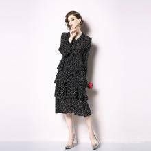 Cake Skirt Multi-Level Dress 2020 Spring And Summer Retro With Little Star Print V-neck Mid-Length Skirt