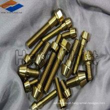 parafusos de cabeça cônica de titânio dourado