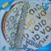 Autocollants en hologramme 3D void vente en 2016, étiquette hologramme haute dpi avec fonction de sécurité d'impression uv